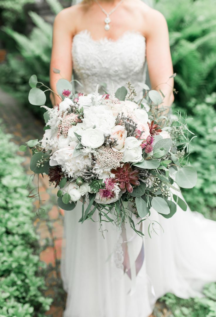 Overflowing Wedding Bouquet White And Peach Roses Succulents Loose Leaves Pin To