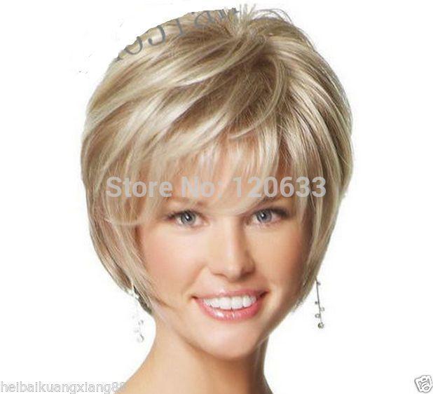 Barato Moda peruca nova sexy ladies curto loiro Natural wigsKanekalon fibra não Lace Front perucas de cabelo grátis frete, Compro Qualidade Perucas diretamente de fornecedores da China:          Bem-vindo      características:  Excelente Qualidade , 100% de fibra Kanekalon japonês  Você pode usar o venti