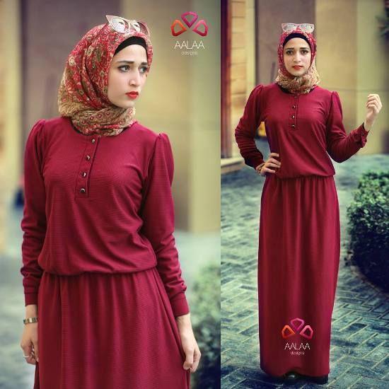 red maxi dress hijab style
