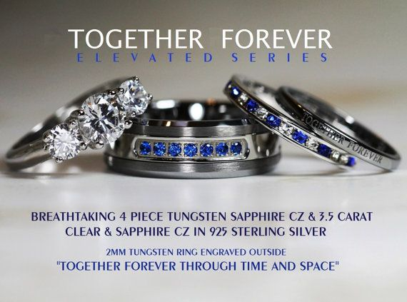 Popular Breathtaking Piece Doctor Who Inspired Sapphire Tungsten Sterling Silver Carat Brilliant Cut u Sapphire CZ Wedding Ring Set