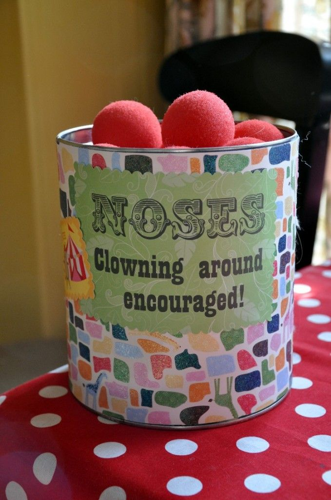 Lots of great ideas for a circus-themed party. The noses are such a great touch.