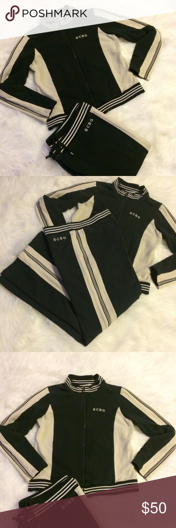 """BCBGeneration Jacket & Pants Black with beige stripes & accents the pants were hemmed to fit my """"petite"""" legs. Pants have a drawstring & Measure 29"""" inseam and 36"""" waist (unstretched) 10"""" rise in the front & 14"""" rise in the back. Pants XL Jacket Large BCBGeneration Jackets & Coats"""