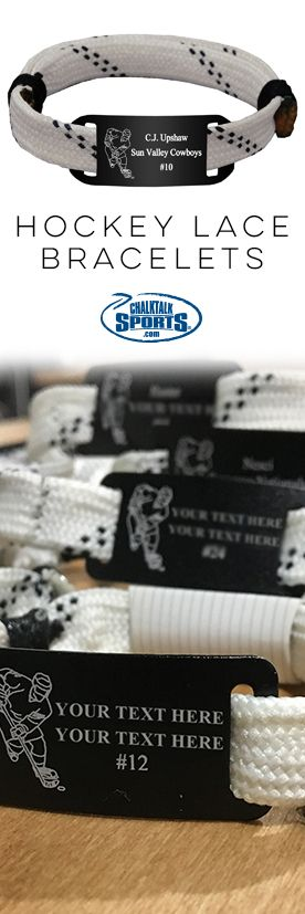 Our hockey lace bracelets are made from authentic hockey laces! Add custom and personalized sliders to complete this perfect team gift that any player will love!