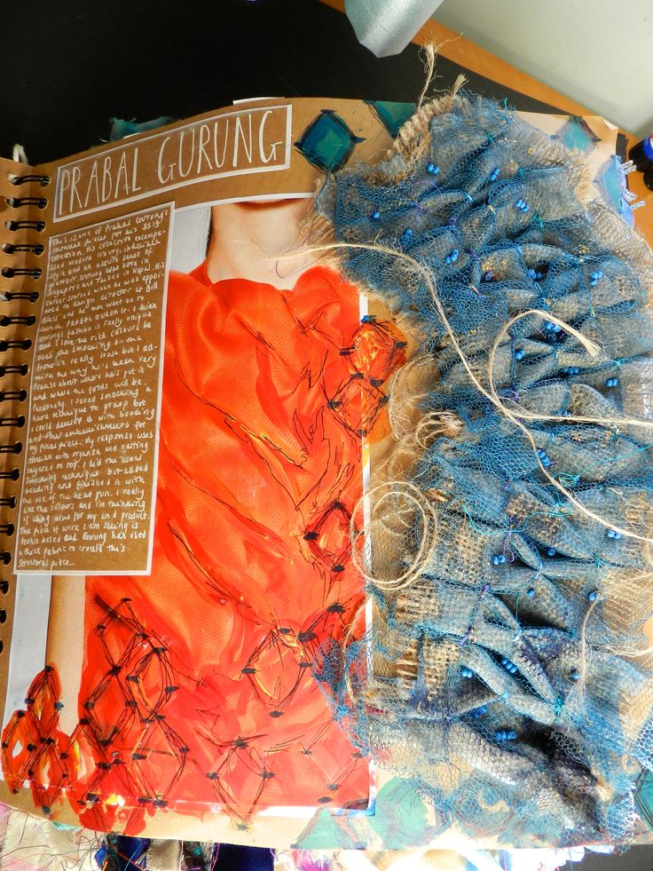 A2 Sketchbook page example for Textiles. By Sarah Lumley