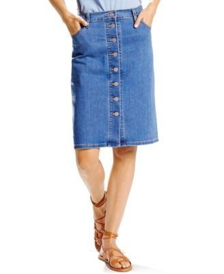 Opt for a more feminine appeal on casual days with this button-front denim skirt from Levi's, perfect with anything––from casual tees to tailored tops! | Cotton/elastane | Machine washable | Imported