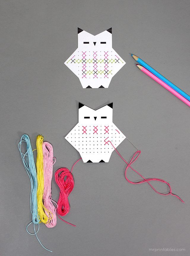 Adorable cross stitch craft for kids // Free printable