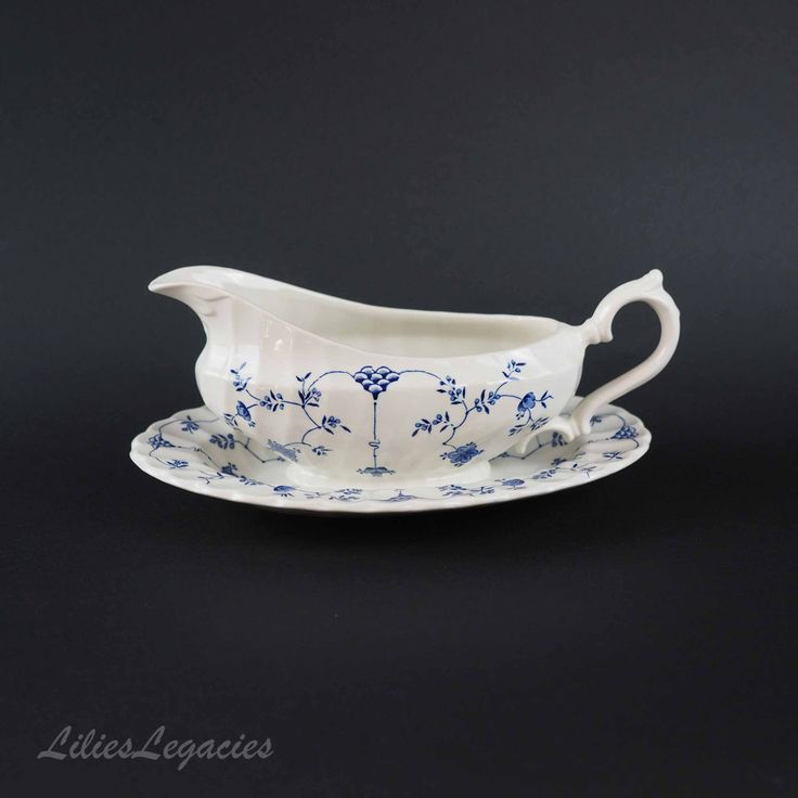 Myott Finlandia Gravy Boat and Underplate, Staffordshire, England Vintage Fine White China,  Blue Scandinavian Floral Design  Serving Set by LiliesLegacies on Etsy