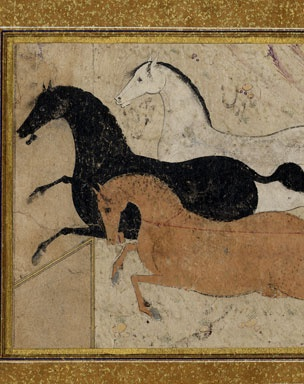 Three galloping Persian horses