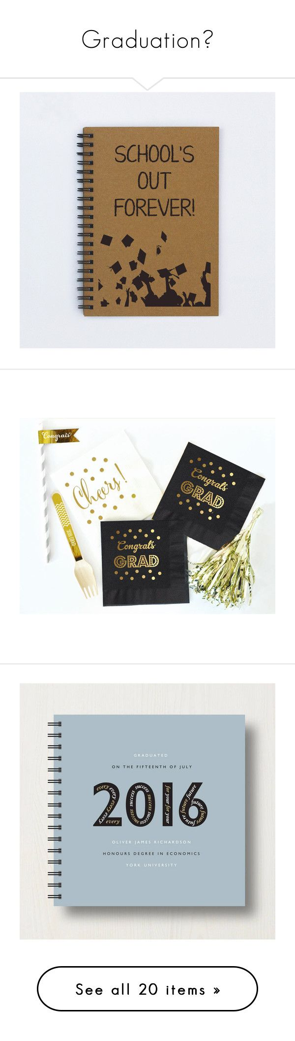 """""""Graduation"""" by dominiquemcain ❤ liked on Polyvore featuring home, home decor, stationery, kitchen & dining, table linens, metallic napkins, gold table napkins, metallic gold napkins, black napkins and gold napkins"""