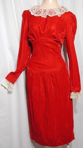 Red dress with lace collar, unknown vintage.
