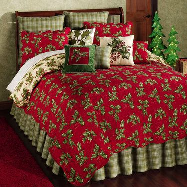 Holly Red Holiday Quilt Bedding Z