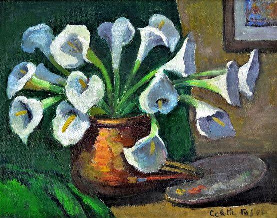 Copos de leite Colette Pujol (Brasil, 1913-1999) óleo sobre tela, 27 x 34 cm