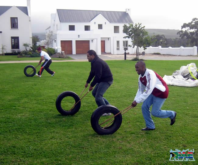 Tyre Races team building exercise is part of TBAE's Corporate Fun Day Team Building Activity.