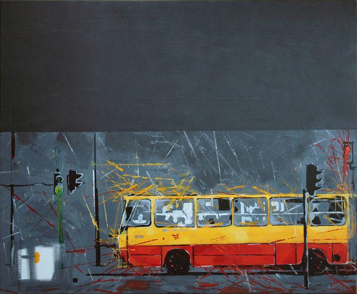 """""""Łódź"""" by Mary Wide Lake 100x80cm akryl na płótnie"""