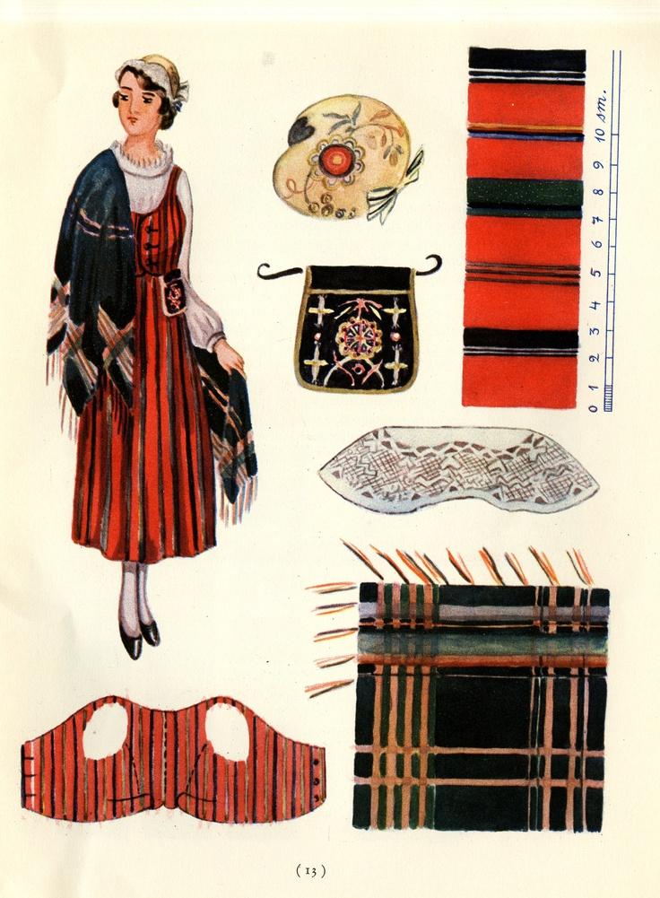 Viljakkala woman's dress taken from Suomalaisia Kansallispukuja [Finnish National Costumes] by Tyyni Vahter, illustrations by Greta Strandberg and Alli Touri