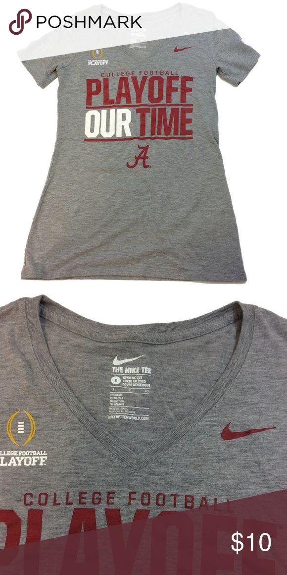 "Nike Alabama College football playoff size S Nike Alabama College football playoff size S, made of 50% polyester, 25% cotton and 25% rayon. Measurements taken from the back with the garment laying flat, pit to pit 15 1/2"" length 26"", all measurements are appropriate. GUC questions??? Please ask Nike Tops Tees - Short Sleeve"