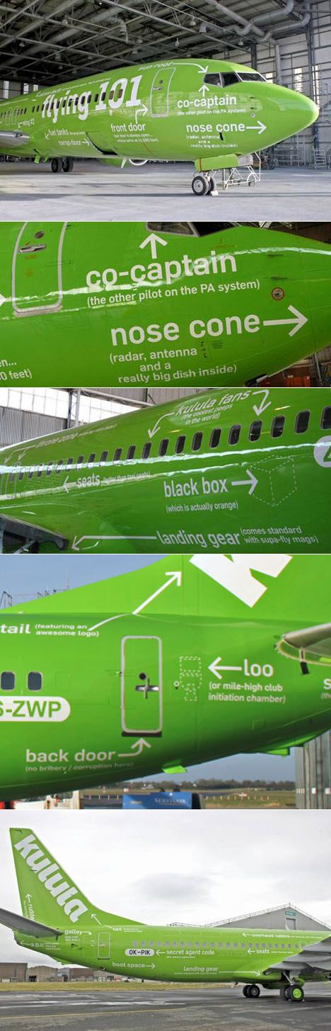 A sense of humor is not something most of us associate air travel with, but Kulula Air has one, which they demonstrate by the way they paint their planes. The low-cost South African carrier is known for irreverent paint jobs (see above), but the cake-taker is their 737 slathered with ID-drawing-style callouts