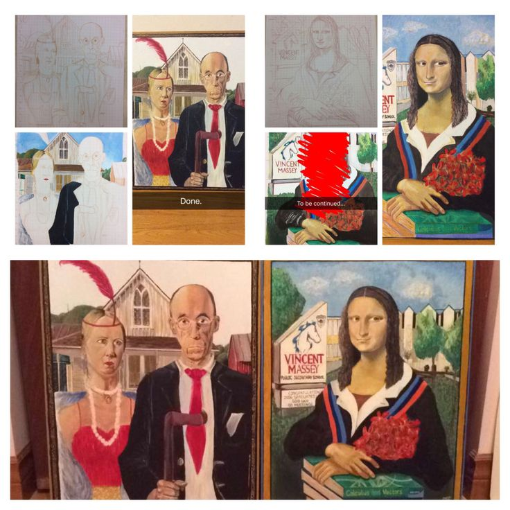 American Gothic and Mona Lisa Recreation