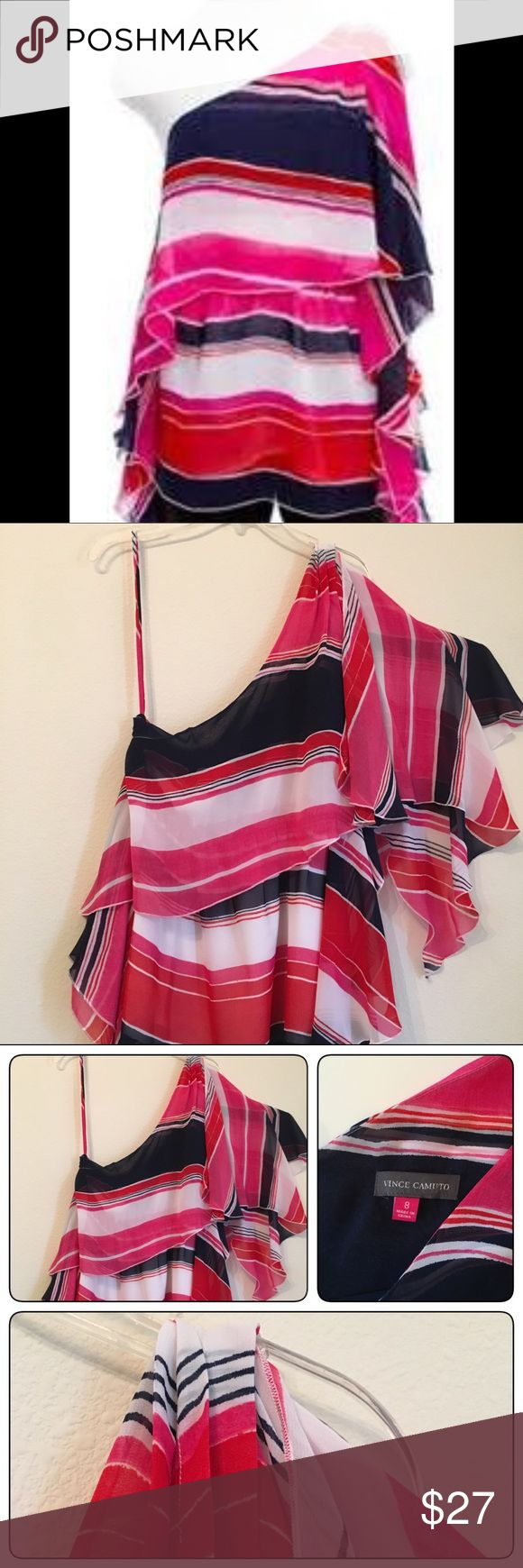 Vince Camuto Single Shoulder Butterfly Blouse Perfect for summer, this bright multi colored (pink, white, navy) flowing blouse has a single strap and one full shoulder.  Features shark bite hemline. 100% polyester lining  and cover. Size 8 Vince Camuto Tops Blouses