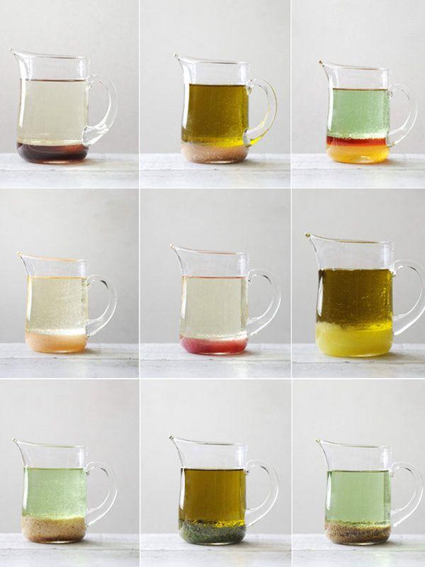 オイル 4 : 酸味 1  ドレッシングのベースとなるオイル(オリーブオイル、グレープシードオイル、なたね油)と酸味(ワインビネガー、レモン、米酢)を4:1の割合とし、そこに調味料やフルーツ&ナッツ、ハーブ&スパイスをプラスすれば、組み合わせは無限大! レシピページでは、それぞれのドレッシングに合わせるメニューも提案してくれたので、そちらもぜひチェックしてみて。 ※今回のドレッシングレシピは、オイル160ml、酸味40mlに統一。