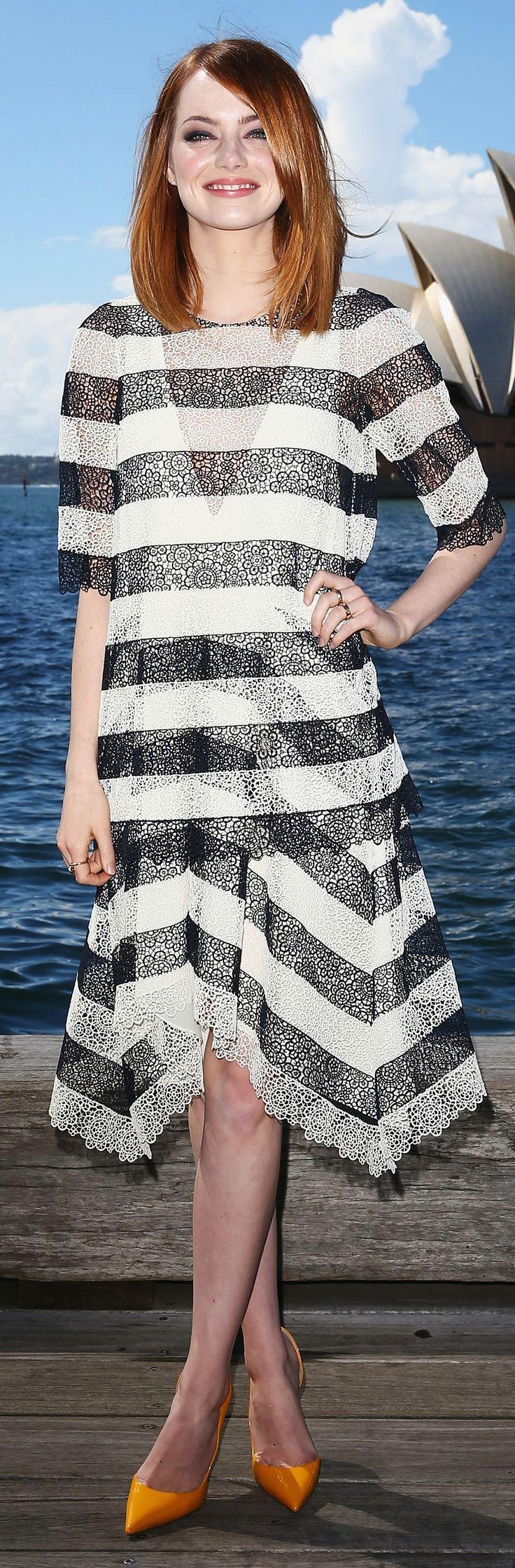 Loving Emma Stone in black and white lace Chloe stripes