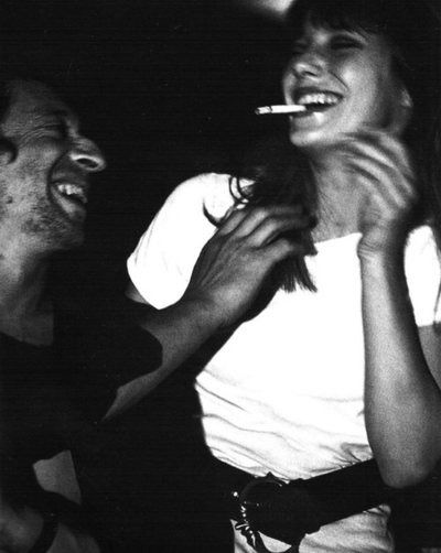 """bcollis: """" One of the many candid images of Serge Gainsbourg and Jane Birkin sharing a cigarette """""""