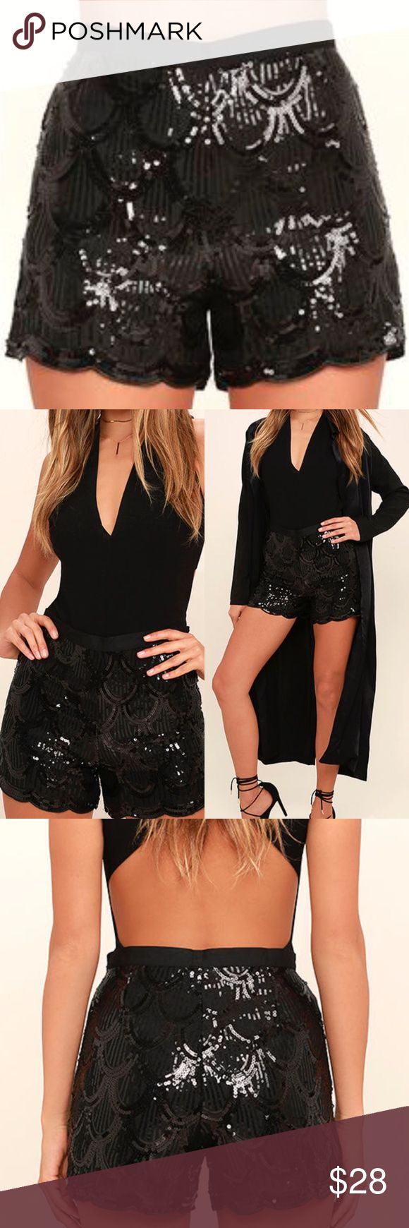 Black sequin shorts by IF BY SEA new Black sequins create a scalloped pattern across these high waisted shorts with a banded waist and matching scalloped hens. These can be paired with a plain white tee and ankle boots or dressed up for any occasion year round! Skirts Mini