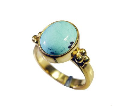 Riyo Turquoise 18 Kt Y Gold Plating Ecclesiastical Ring Sz 5.5 Gprtur5.5 82108 Rings on Shimply.com