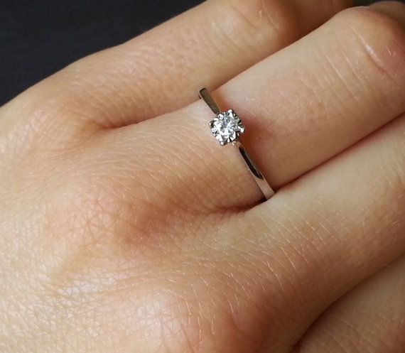 Skinny Solitaire Engagement Ring Thin Band Diamond by ArahJames