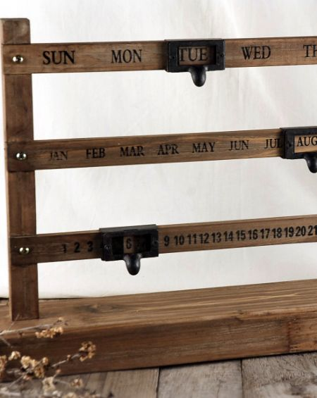 """Perpetual Calendar -- Sliding Wood Perpetual Calendar 22x14 with stand $34 wood calender -- 14"""" tall x 22"""" wide x 4"""" thick -- slide the marker to the date -- Reg. price $42 -- Sale Price $34"""