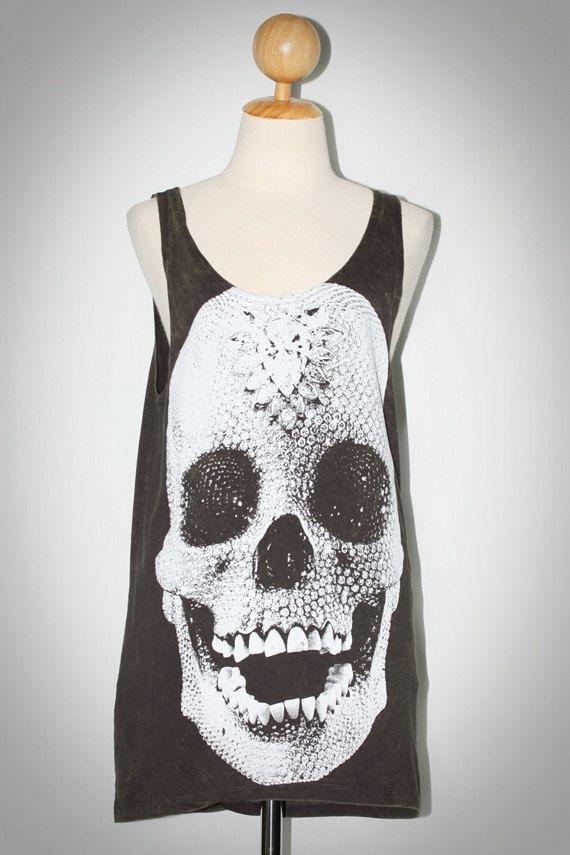 Crystal Diamond Skull Bleached Charcoal Black Tank Top Sleeveless TShirt