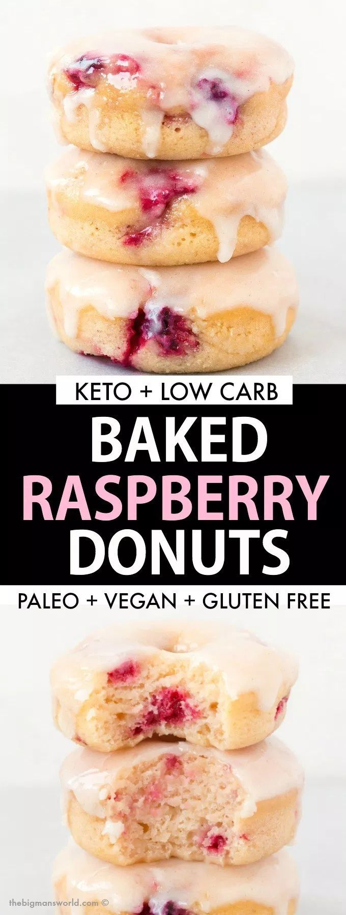 Healthy Baked Raspberry Donuts with a sugar free glaze is the BEST dessert made …