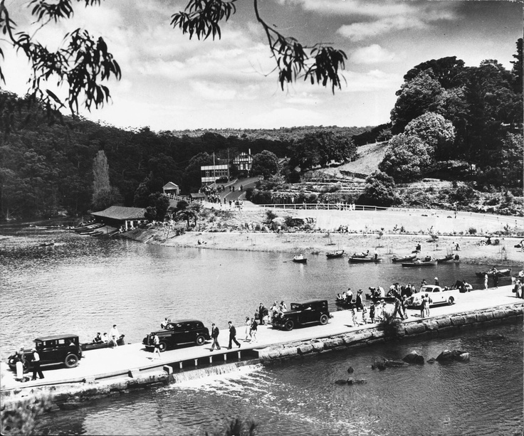 The causeway at Audley was built to provide swimming and boating opportunities. State Records NSW. Taken from, Playing in the bush: recreation and national parks in New South Wales, Edited by Richard White and Caroline Ford.