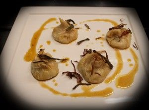 Steamed #homemade #ravioli ... stuffed with Fillet of Cod, sauteed #spring onion and an emulsion of Soy sauce and Extra Virgin Olive oil