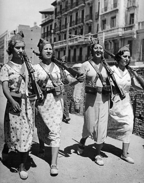Mujeres Libres of Spain: a group of women anarchists who organised and fought both for women's liberation and an anarchist revolution during the Spanish Civil War.