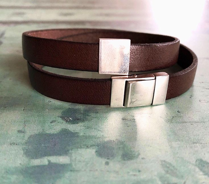 Brown leather and sterling silver (lever back and slider) bracelet #mensbracelets #brownleatherbracelet #brownbraceletmen #leatherjewelrymen #giftforboyfriend #presentfordad #fathersgifts #valentinesgiftforhim #giftsformen #giftforhim #mensaccessories #mensfashion #menswear #leathercuffmen #silverjewellerymen #fashionaccessories #styleformen #giftforson #giftforfiance #mens A personal favourite from my Etsy shop https://www.etsy.com/uk/listing/588902129/brown-leather-bracelet-sterling-silver