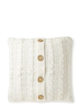 Ivory Knitted Cushion - cushions  -BHS £20