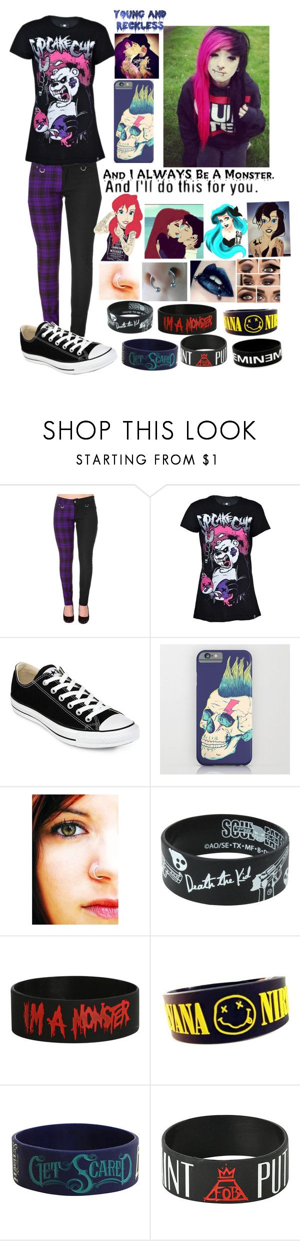 """Emo Teen"" by blvrryfacee ❤ liked on Polyvore featuring Mode, Converse, Disney, Young & Reckless und Warpaint"