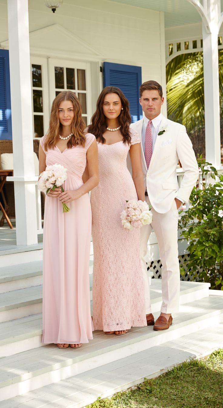 Lauren Ralph Lauren Wedding: Soft pink bridesmaid dresses and sharp white suits look elegant and timeless at a spring wedding.