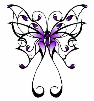 Tribal butterfly - purple and black ... silver edging would be awesome if possible