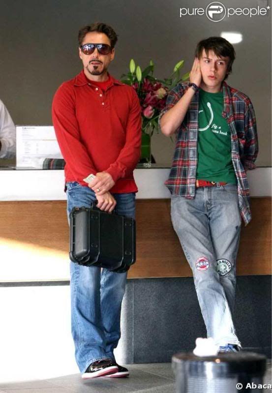 Iron Man with his son, Cole. Robert John Downey Jnr (born 4 April 1965) and Indio Falconer Downey (born 7 September 1993).