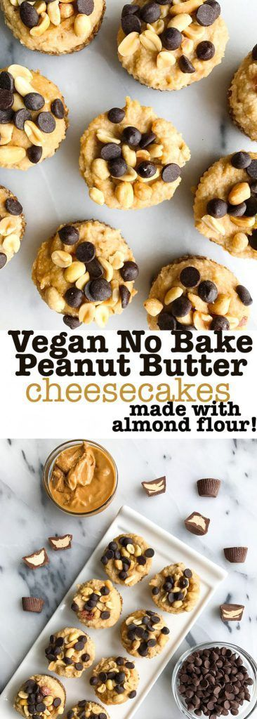 Vegan No-Bake Peanut Butter Cheesecakes! Grain free peanut butter cheesecakes made with an almond flour crust. A healthy no bake cheesecake recipe made with healthy ingredients and super easy! Dark chocolate peanut butter heaven.