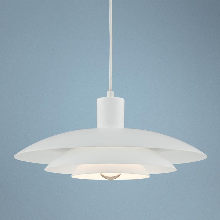 three tier shade downlite 14 wide white pendant light perhaps for