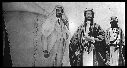 """""""historicaltimes:  Faisal, the first King of Iraq, and Chaim Weizmann, the first President of Israel, at the signing of the Faisal–Weizmann Agreement on January 3rd, 1919. Weizmann is wearing an Arab headdress, as a sign of friendship.  """""""