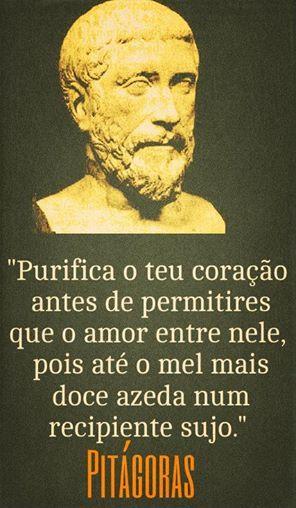 """""""Purifica o teu coração antes de permitires que o amor entre nele pois até mel mais doce azeda num recipiente sujo"""". Pitágoras"""