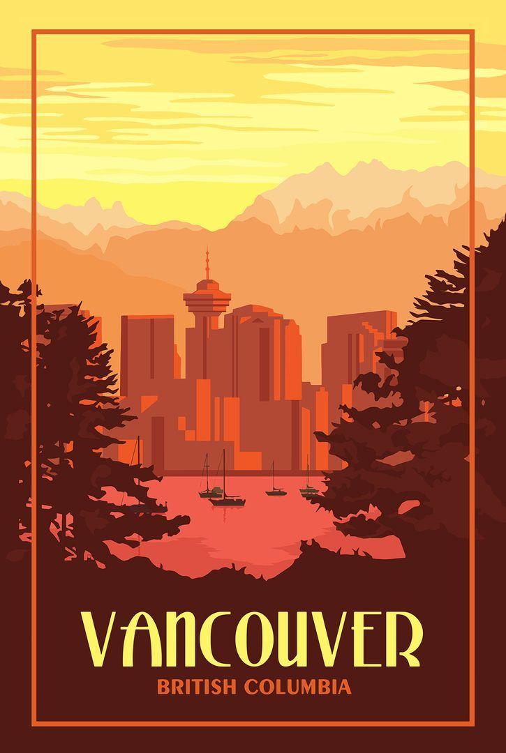 Vancouver Bc Vintage Travel Poster Vintage Travel Posters