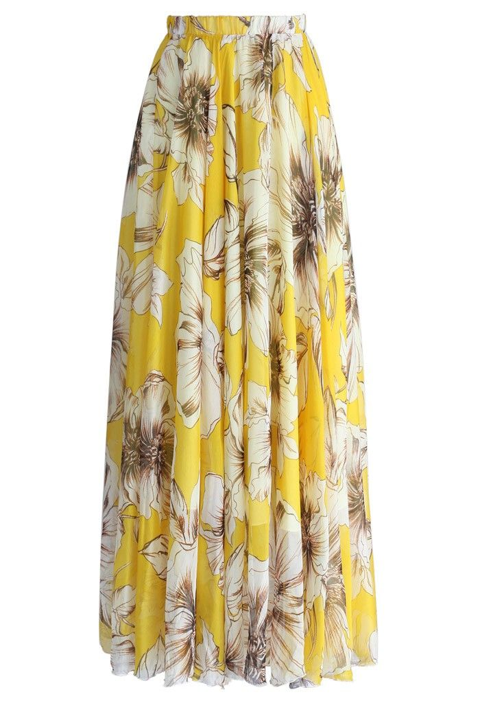 Marvel at the bold floral print of this gossamer maxi frock, you adore your reflection in this skirt as much as you love summer time! Swirl in it with a trendy off-shoulder top or cami, your summer vacation is in countdown!  - Elastic waist - Lined - 100% Polyester - Machine wash gently / Hand wash  Size(cm) Length  Waist XS              110      58-64 S                110     &n...