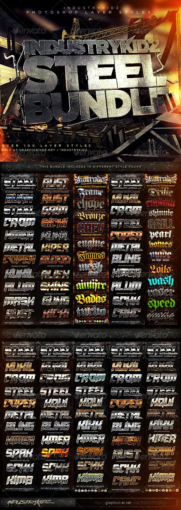 Metal Steel Photoshop Layer Styles Bundle