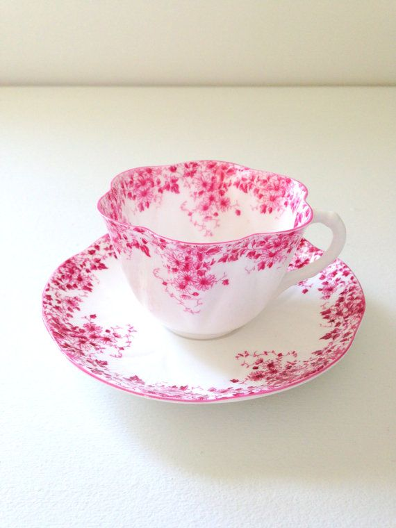 Rare Antique English Fine Bone China Shelley Dainty Pink Pattern and Shape Teacup and Saucer Replacement China c. 1940 - 1966