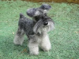 """Needle Felted Schnauzer, 4"""" tall poseable, $250.00 by maria.t.rogers"""